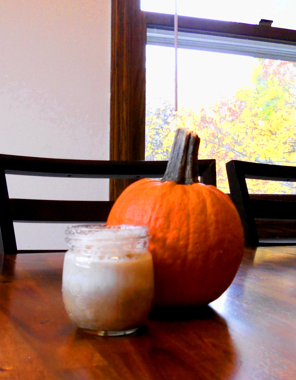 latte macchiato and pumpkin